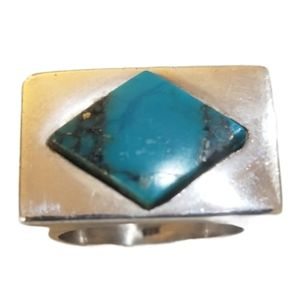 925 Sterling Silver Turquoise Ring  - Size 7